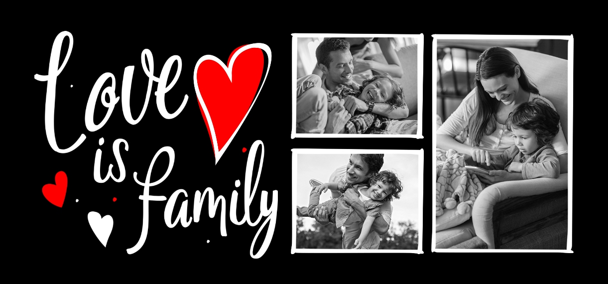 Family + Friends 11 oz. Red Accent Mug, Gift -Love Is Family