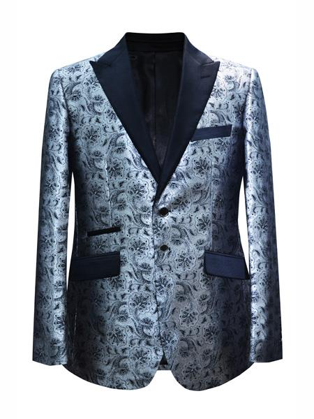 Mens 2 Button Floral Designed Peak Lapel Silver Sport Coat Blazer