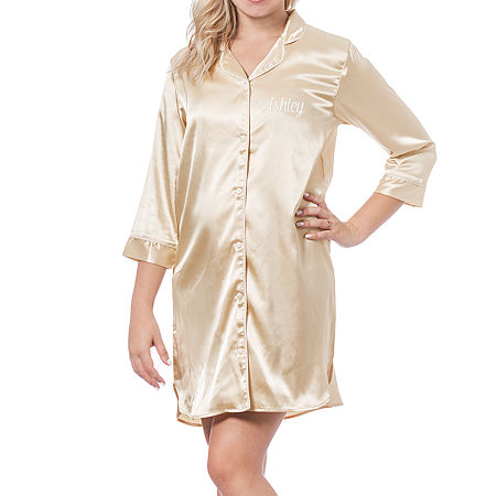 Cathy's Concepts Personalized Womens Satin Nightshirt 3/4 Sleeve V Neck, Small-medium , Yellow