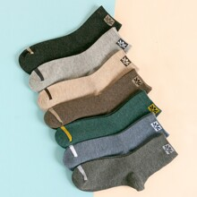 7 Paare Maenner Socken mit Blatt Muster
