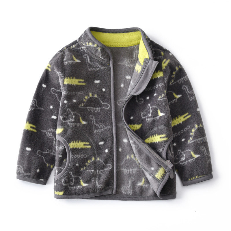 Fleece Printed Boys Girls Stand Collar Casual Coats For 2Y-9Y