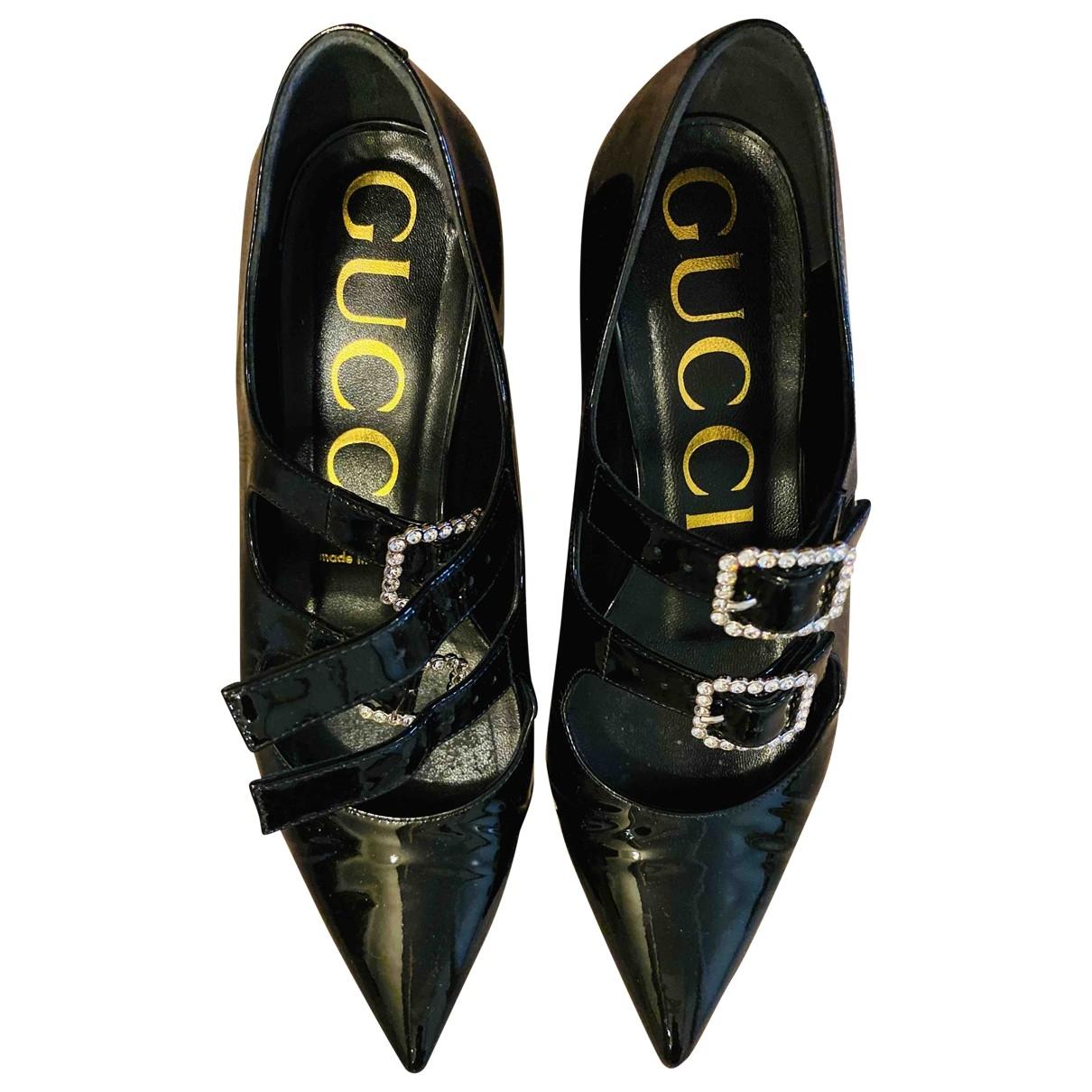 Gucci \N Black Patent leather Flats for Women 38.5 EU