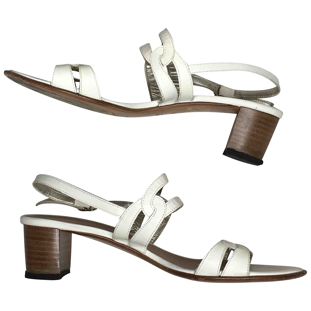 Non Signé / Unsigned \N White Leather Sandals for Women 36.5 IT
