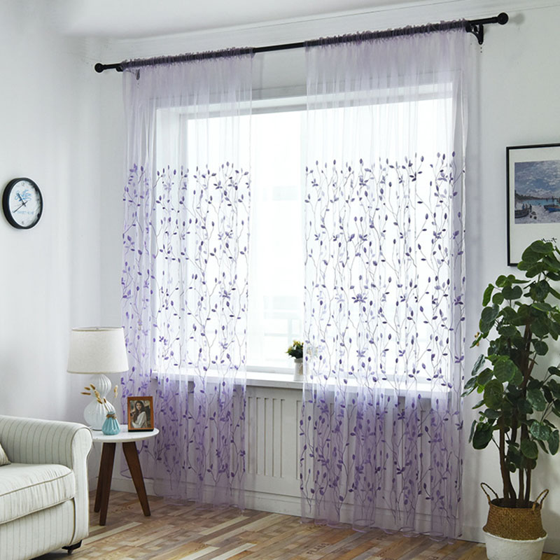 Pastoral Leaves Embroidered Sheer Curtains for Living Room Custom 2 Panels Breathable Drapes No Pilling No Fading No off-lining