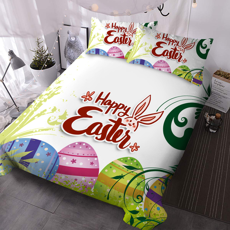 Easter Eggs 3Pcs Microfiber Wrinkle/Fade Resistant Comforter Set 3D Animal Comforter Insert with 2 Pillow Covers
