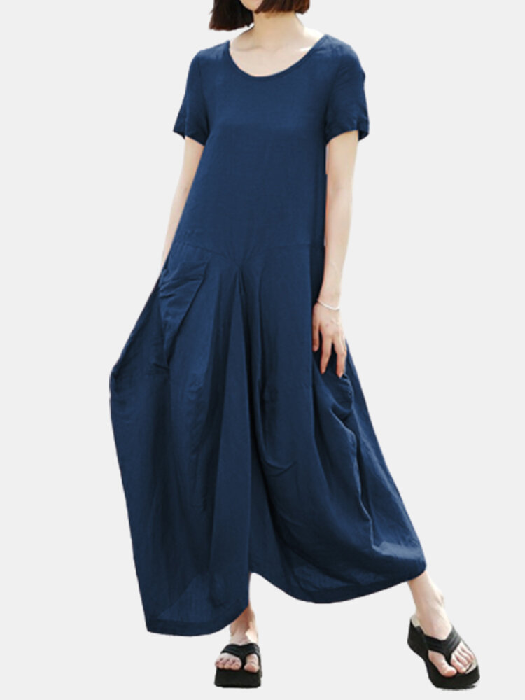 Solid Color Loose Pocket Plus Size Casual Dress
