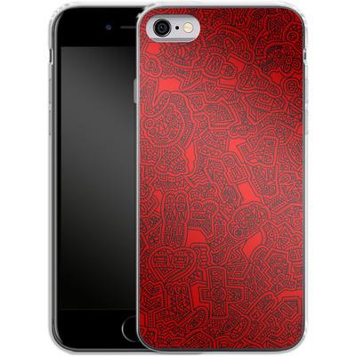 Apple iPhone 6s Silikon Handyhuelle - Red Black von Mattartiste