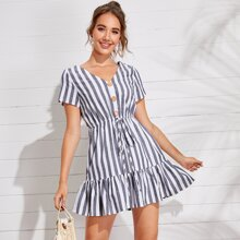 Button Front Flounce Hem Striped Dress