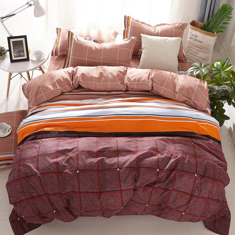 4Pcs Striped Bedding Sets Queen King Size Bedspread Quilt Sets