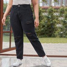 Jeans mit Riss und hoher Taille