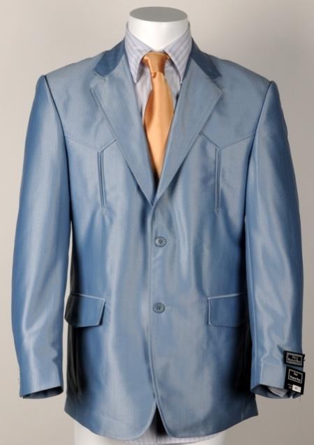 Mens Western Cowboy Suit Traje Vaquero Polyester Suit Set Blue