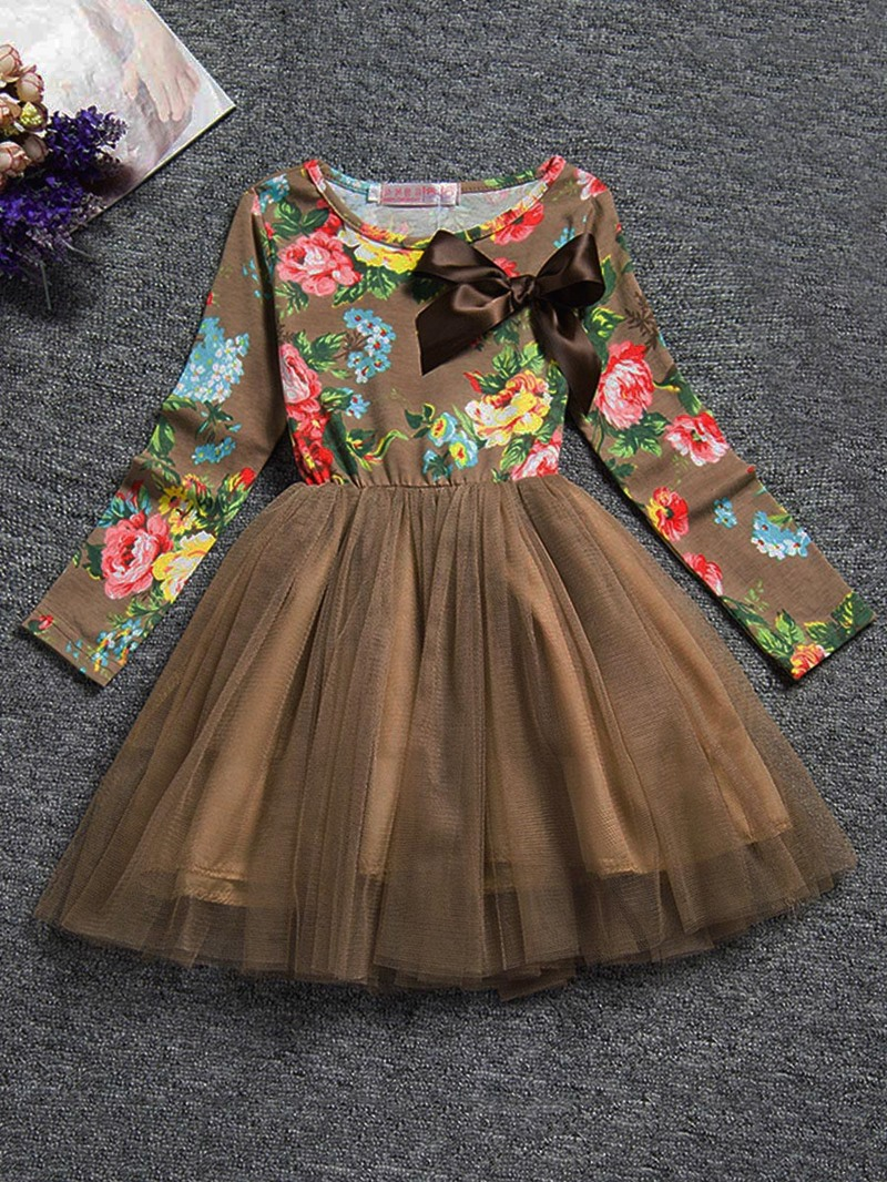 Ericdress Flower Print Bowknot Mesh Patchwork Princess Dress