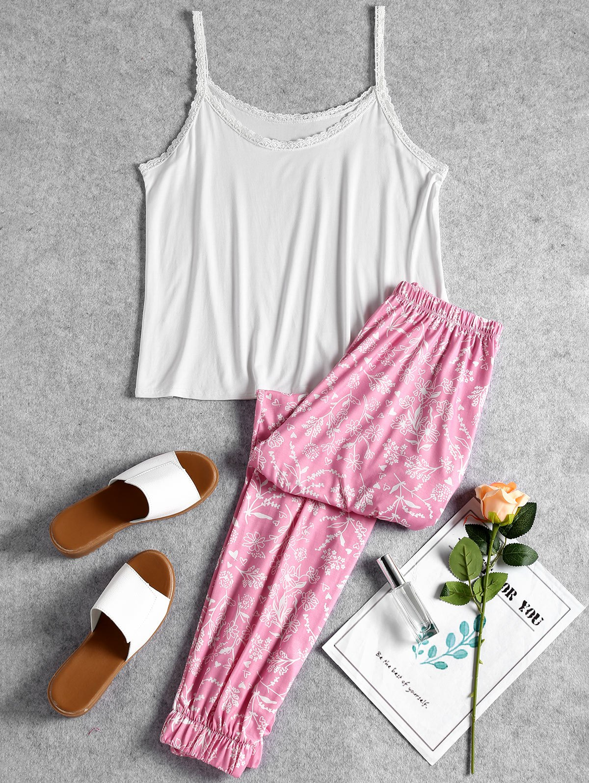 Lace Trim Cami Floral Pajama Set