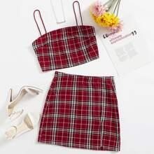 Plaid Cami Top & Split Skirt Set