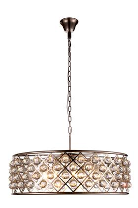 1214D32PN/RC 1214 Madison Collection Pendant Lamp D: 32in H: 10.5in Lt: 8 Polished Nickel Finish Royal Cut Crystal