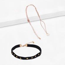 Star Studded Halsband 2St