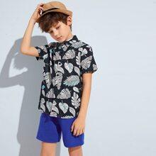 Boys Tropical Print Shirt & Shorts Set
