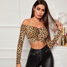 Off Shoulder Ruched Front Leopard Print Crop Top