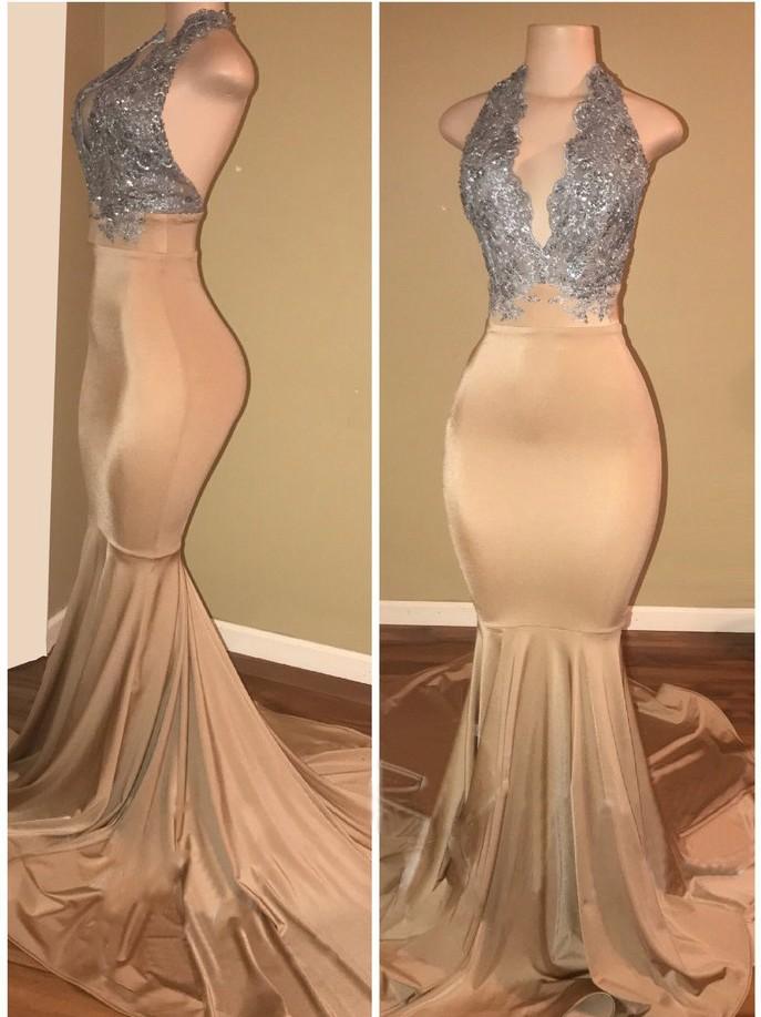 Luxury Halter Sleeveless Lace Applique Mermaid Prom Dresses