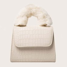 Crocodile Fluffy Handle Satchel Bag