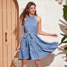 Tie Back Polka Dot Belted Halted Dress