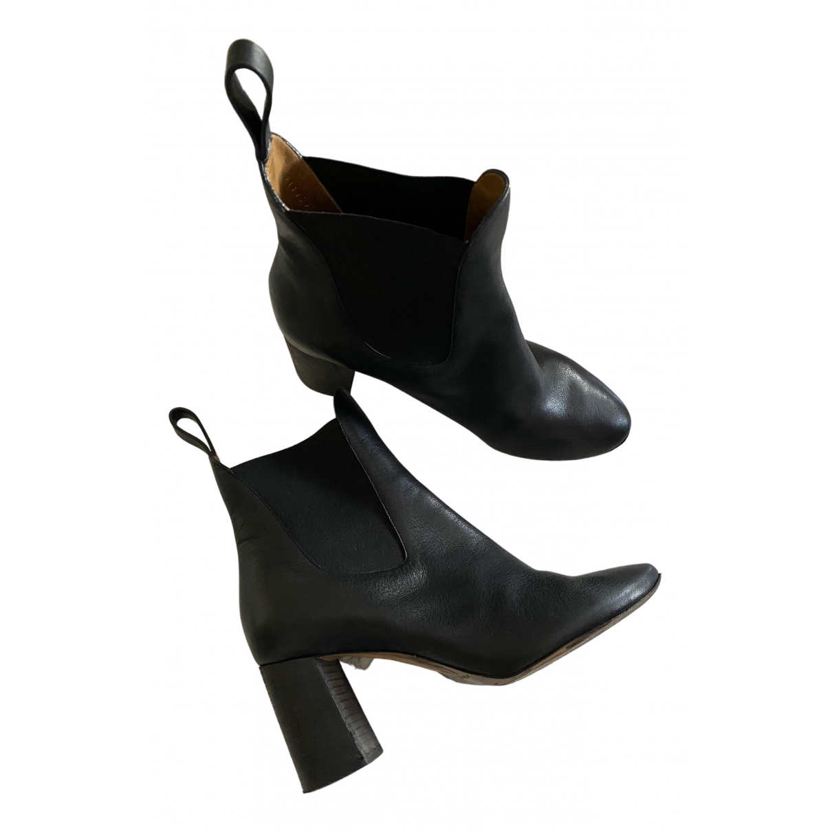 Chloé N Black Leather Ankle boots for Women 38.5 EU
