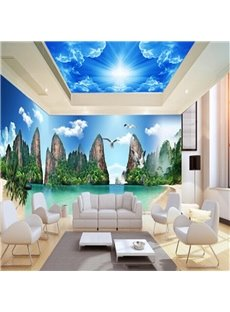 Blue Sky Mountains with Birds Pattern 3D Waterproof Ceiling and Wall Murals