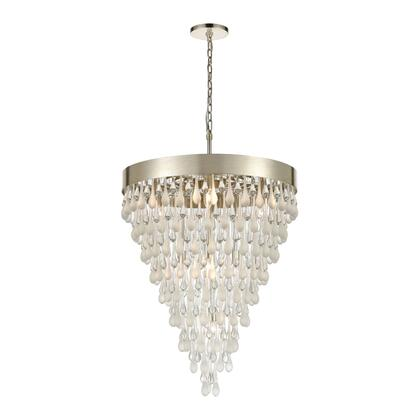 32346/10 Morning Frost 10-Light Pendant in Silver Leaf with Clear and Frosted Glass
