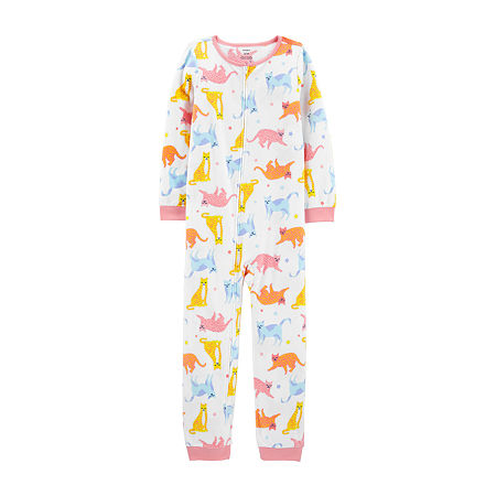Carter's Little & Big Girls Fleece Long Sleeve One Piece Pajama, 7 , Pink