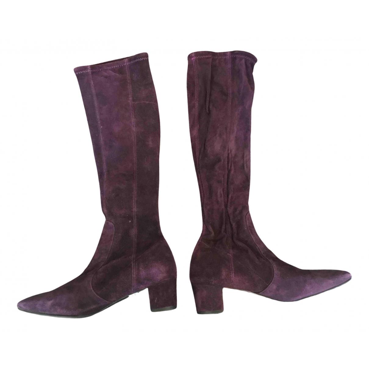 Lk Bennett - Bottes   pour femme en suede - violet