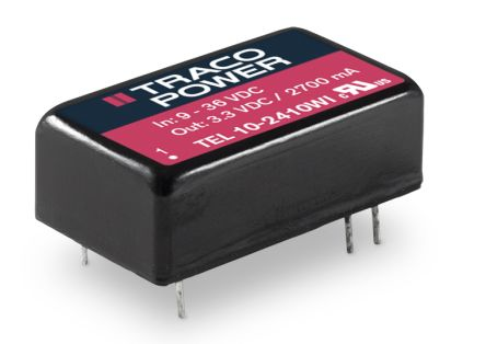 TRACOPOWER TEL 10WI 10W Isolated DC-DC Converter Through Hole, Voltage in 18 → 75 V dc, Voltage out 15V dc