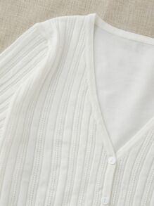 Plus Solid Shirred Button Through Cardigan