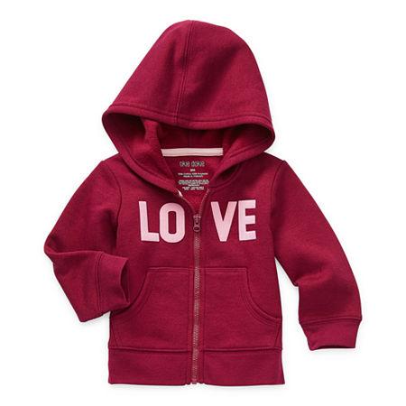 Okie Dokie Baby Girls Cuffed Sleeve Hoodie, 3 Months , Red