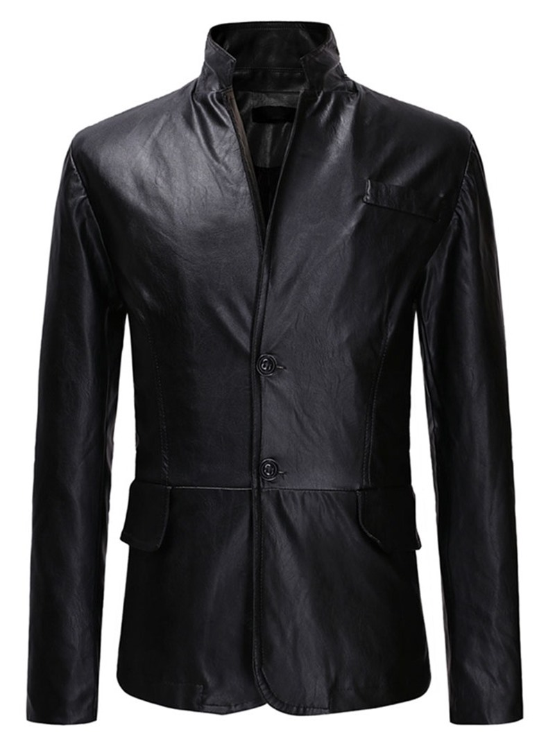 Ericdress Standard Stand Collar Plain Slim Single-Breasted Leather Men's Jacket