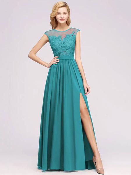 Milanoo Bridesmaid Dress Chiffon A Line Illusion Neck Sleeveless Floor Length Wedding Party Dress Prom