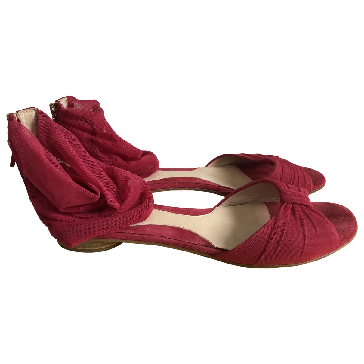 Fendi - Sandales   pour femme en suede - bordeaux
