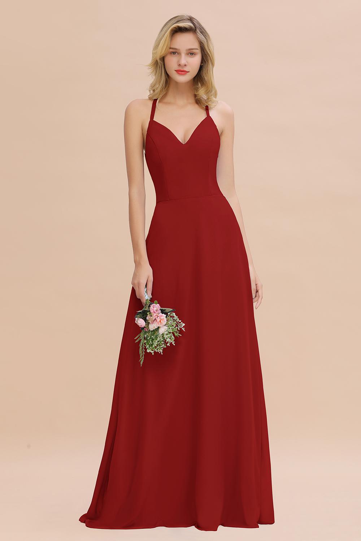 BMbridal Modest Halter V-Neck Sleeveless Long Bridesmaid Dresses Online