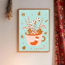 Pintura de pared con patron de navidad sin marco