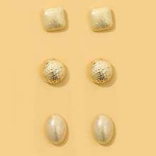 3pairs Textured Metal Geometric Stud Earrings