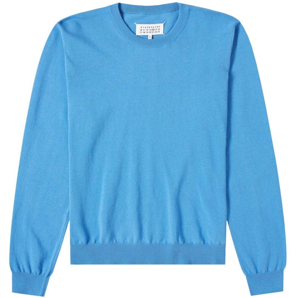 Maison Margiela Elbow Patch Knitted Jumper Colour: BLUE, Size: LARGE