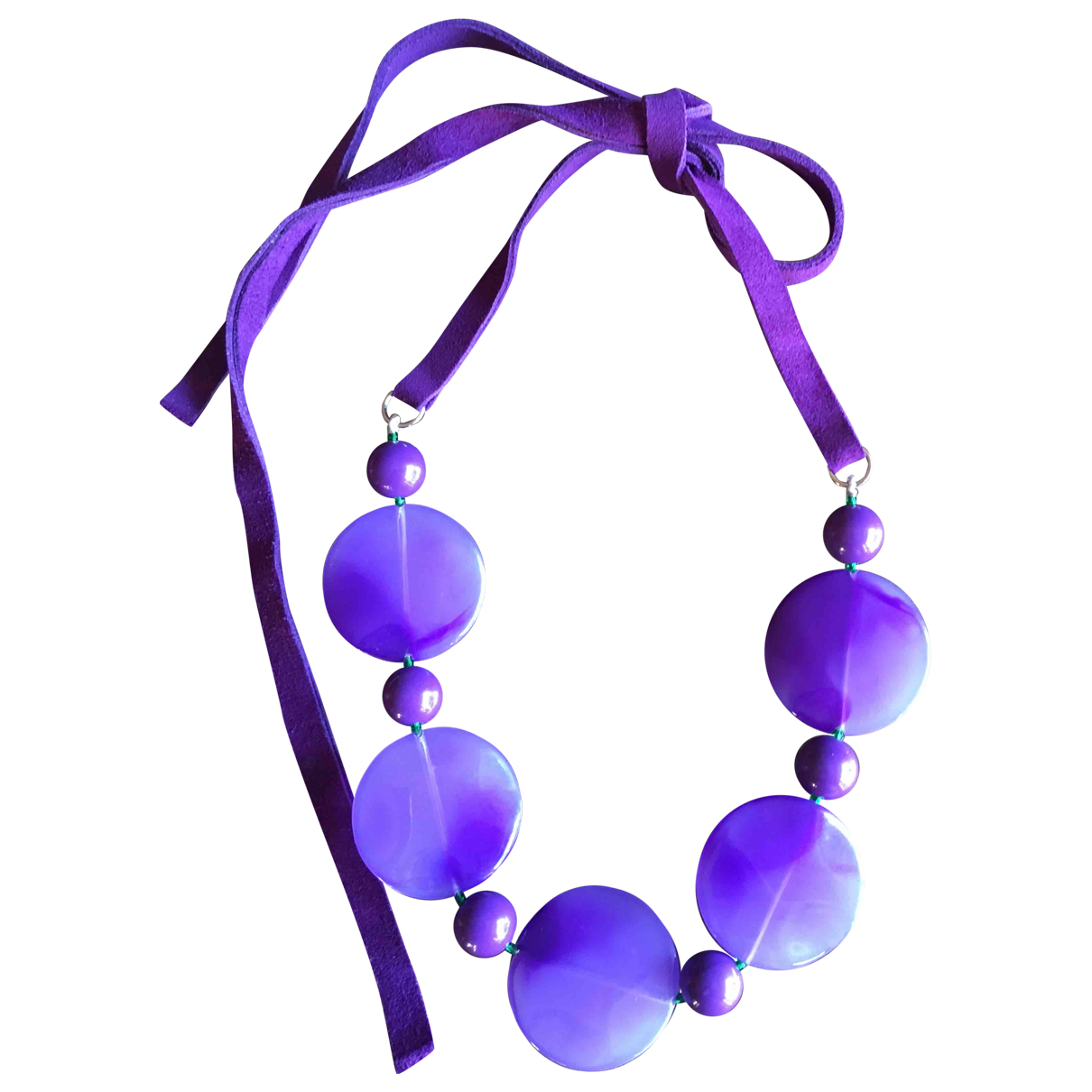 Non Signé / Unsigned N Purple Leather necklace for Women N