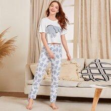 Pajama Set mit Karikatur Elefant Muster