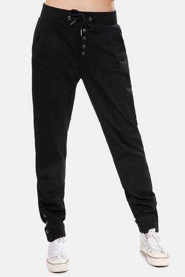 Yoins Active Front Design Drawstring Elastic Waist Pants in Black