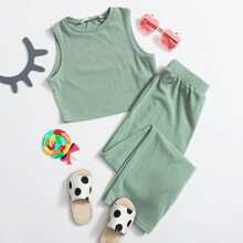 Girls Rib-knit Tank Top & Pants Set