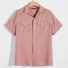 Men Flap Pocket Front Revere Collar Shirt
