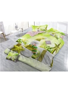 Green Christmas Snowman Wear-resistant Breathable High Quality 60s Cotton 4-Piece 3D Bedding Sets