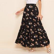 Falda con volante con estampado floral