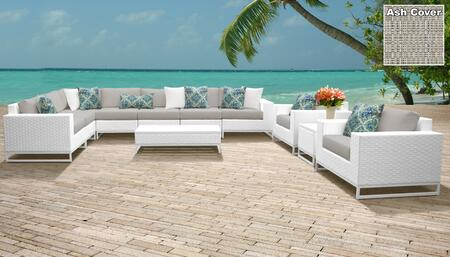 Miami Collection MIAMI-11a-ASH Miami 11-Piece Patio Set 11a with 1 Corner Chair   4 Armless Chair   1 End Table   1 Coffee Table   2 Club Chair   1
