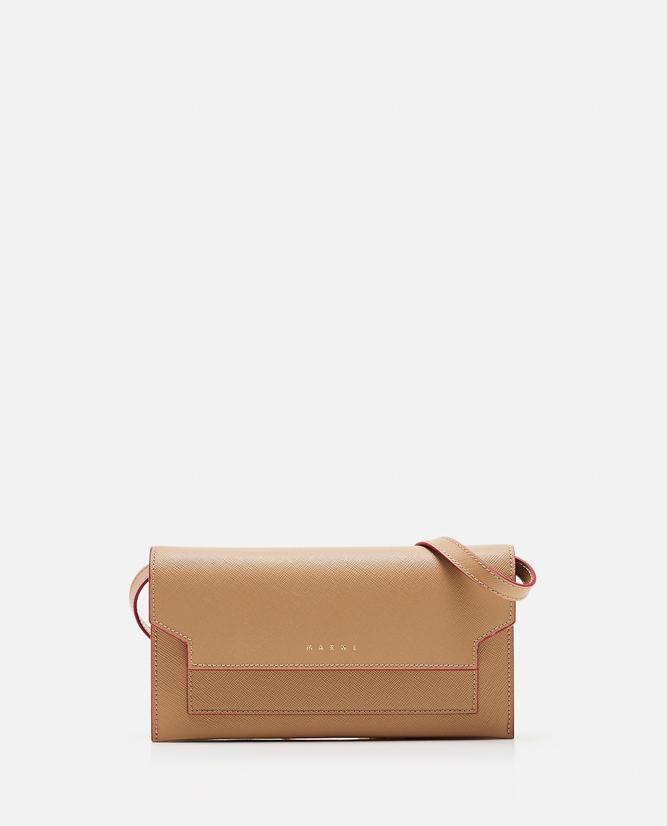 Leather wallet with shoulder strap
