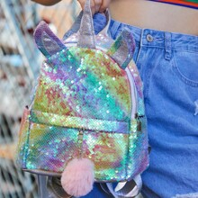 Pom Pom Decor Sequins Unicorn Design Backpack